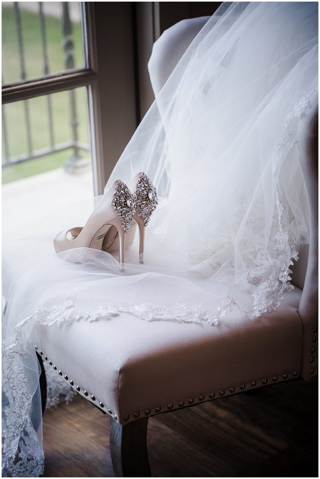 The Sadie Jane Wedding Venue bride's jeweled shoes on chair