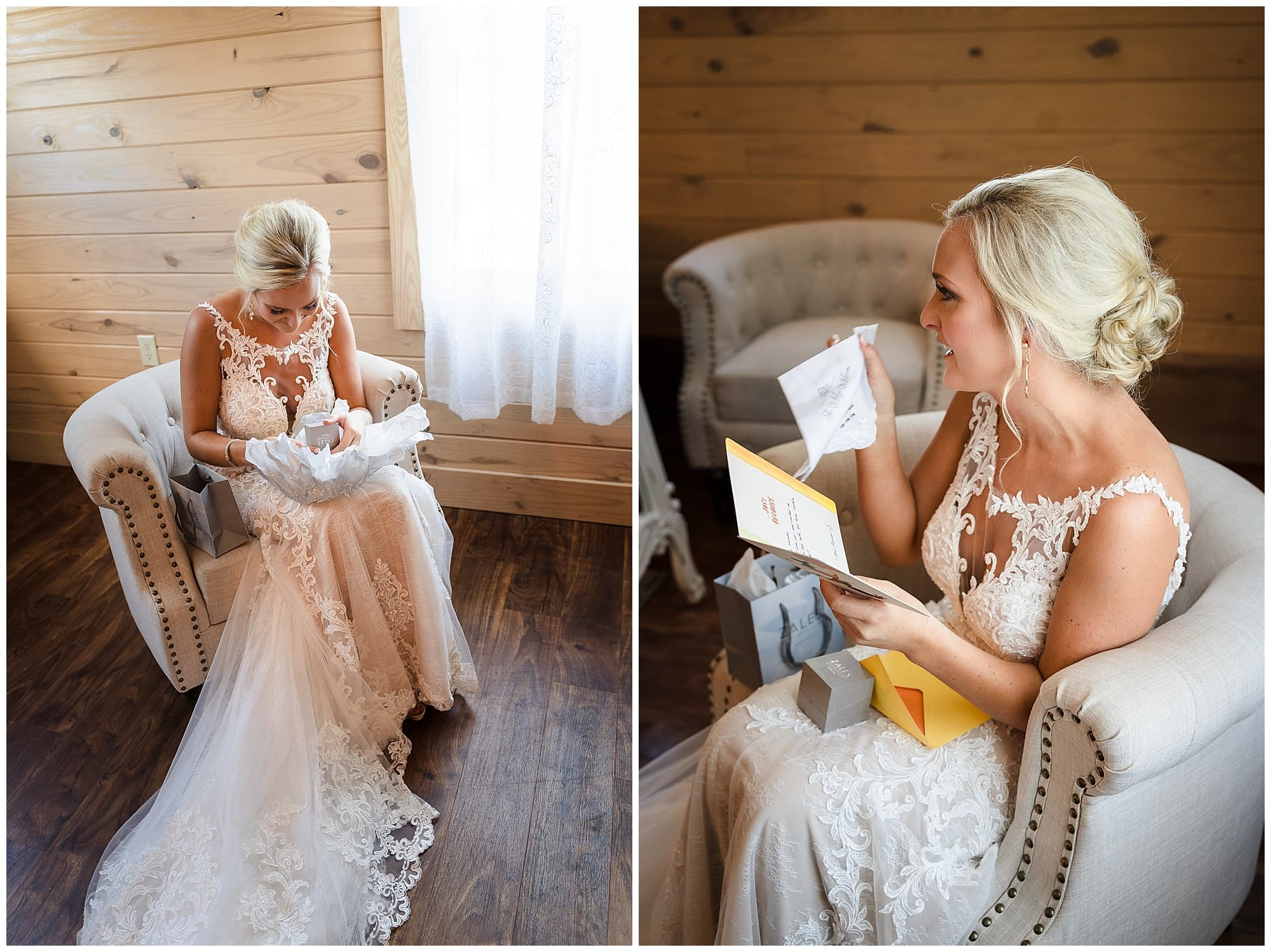 The Sadie Jane Wedding Venue bride opening gift and crying