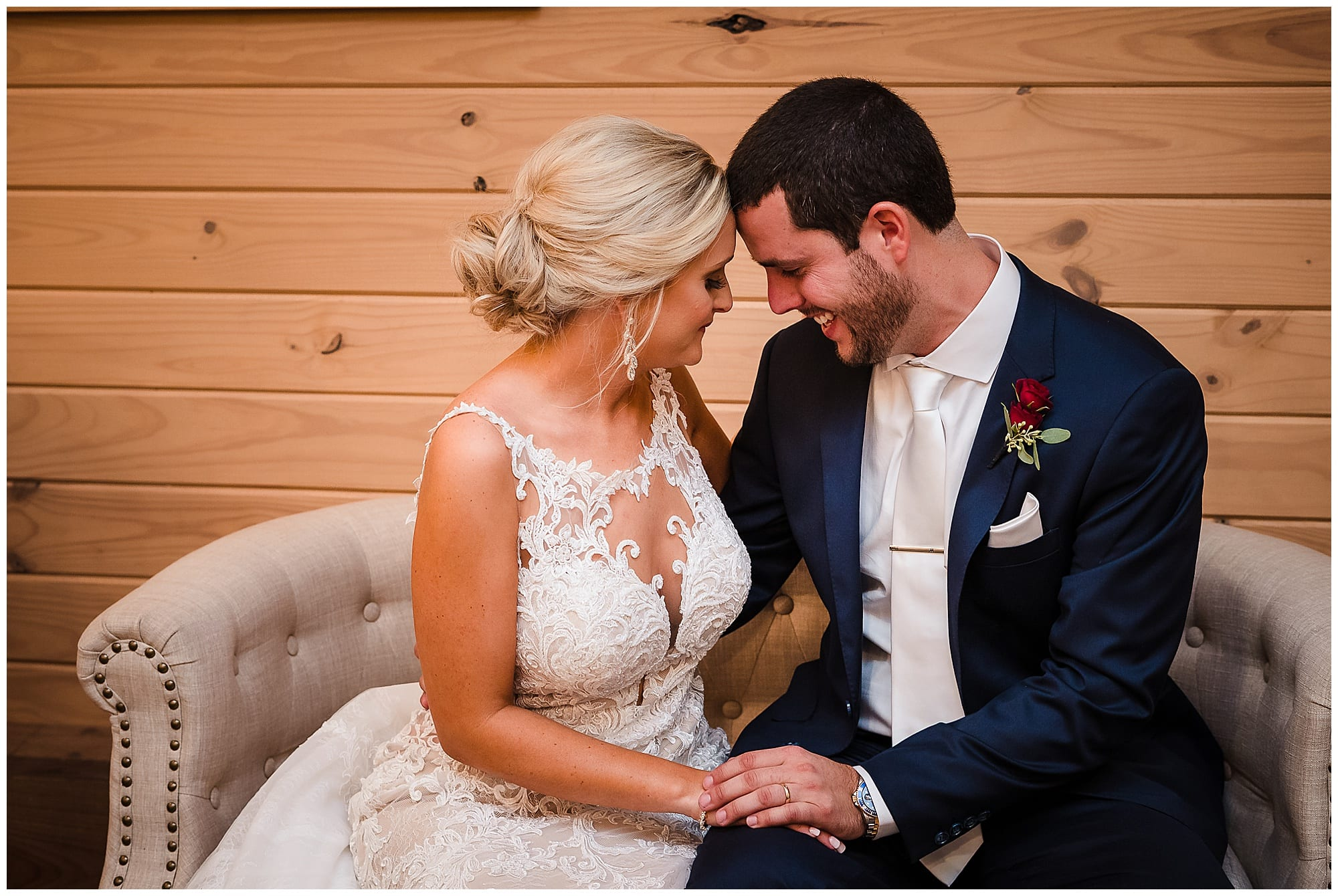 The Sadie Jane Wedding Venue wedding couple touch foreheads