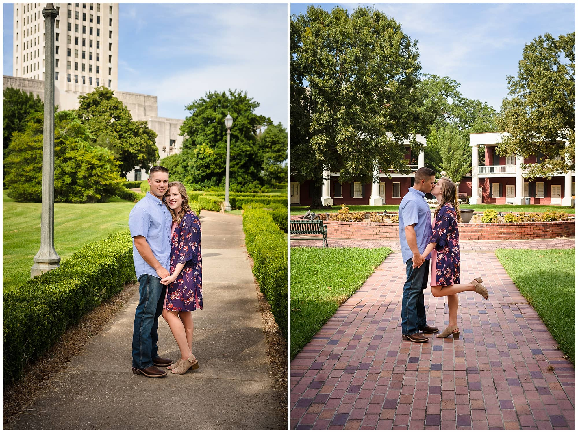 couple posing and kissing indowntown Baton Rouge engagement session