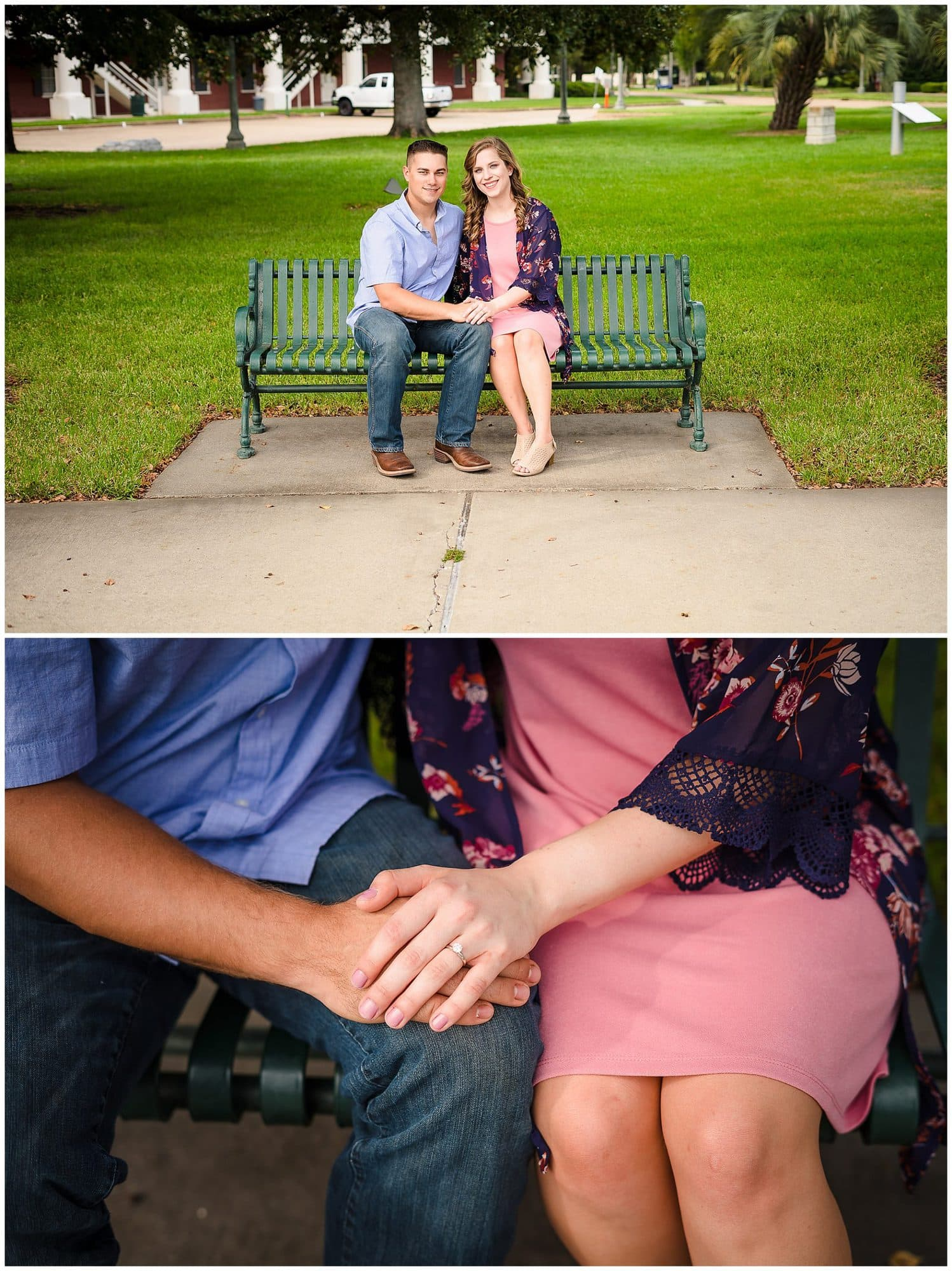 couple sitting on bench downtown Baton Rouge engagement session