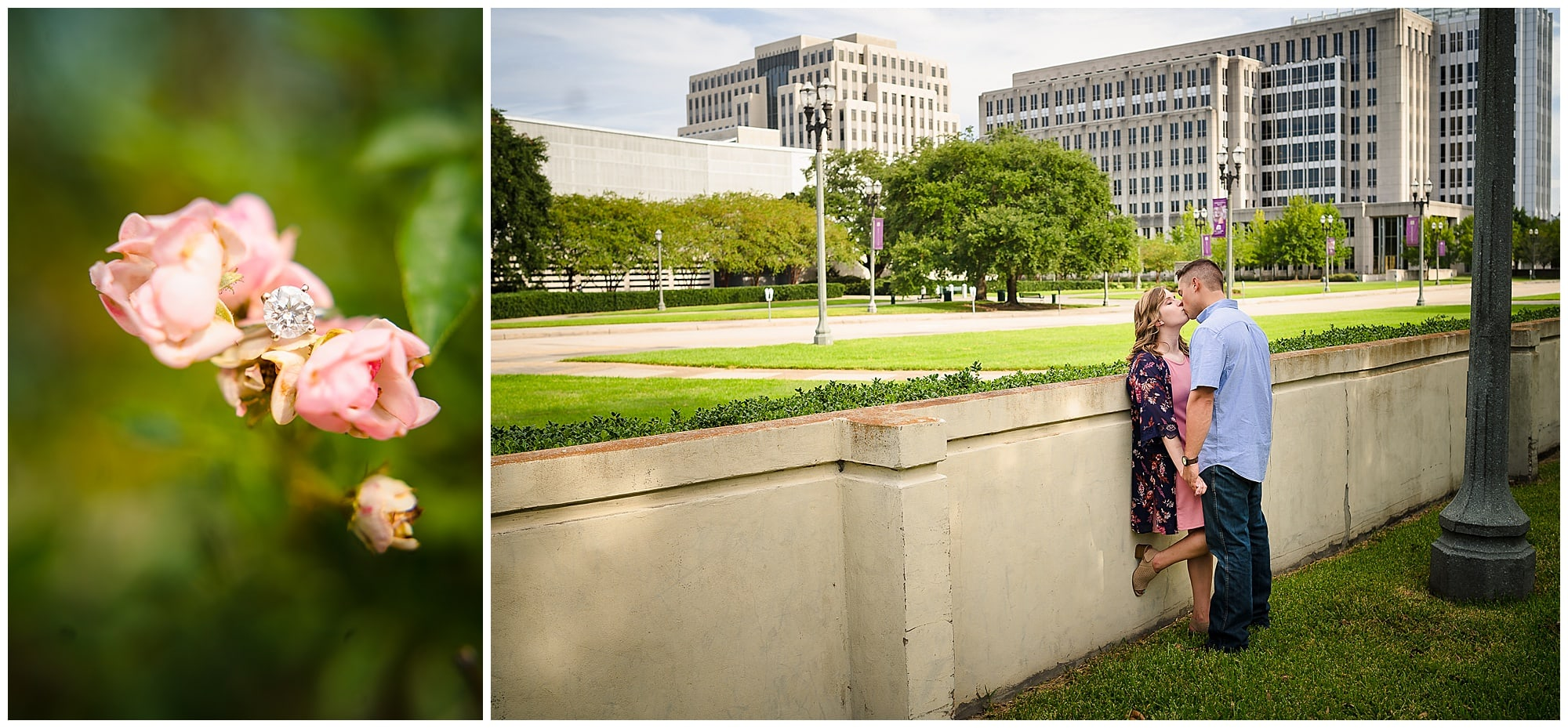 engagement ring and couple kissing in downtown Baton Rouge engagement session