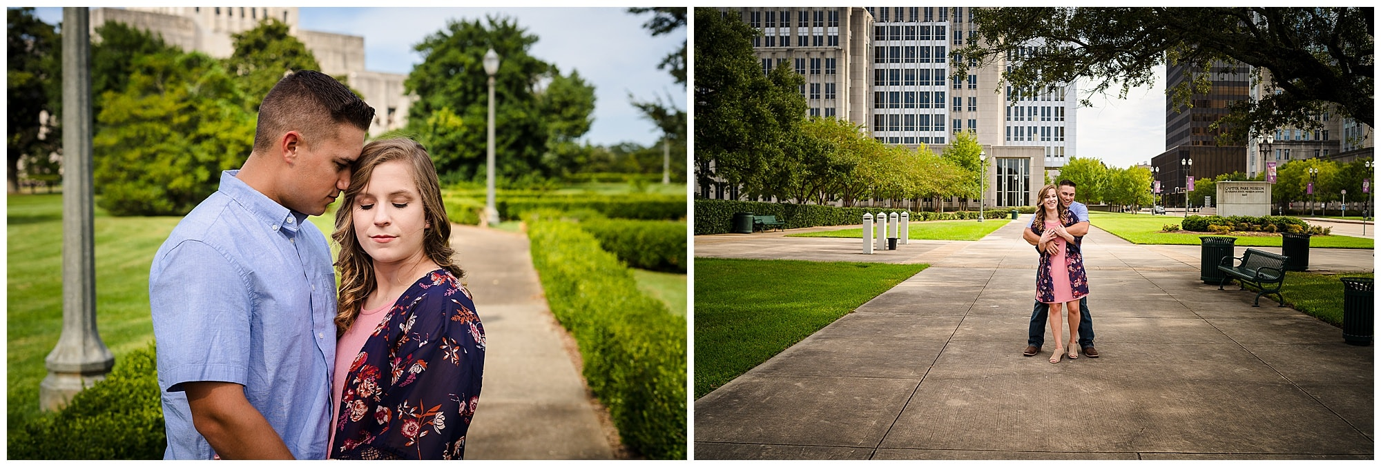 couple posing in downtown Baton Rouge engagement session