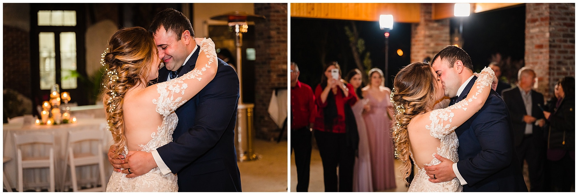 bride and groom first dance and kiss