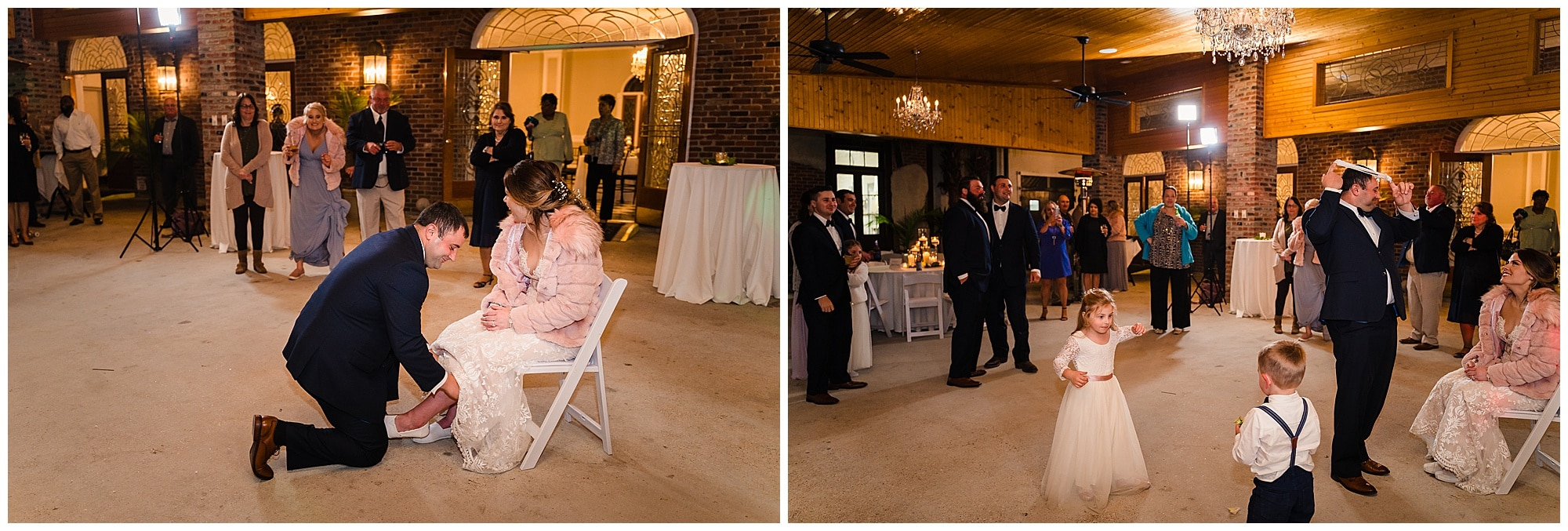 groom takes off garter and throws it