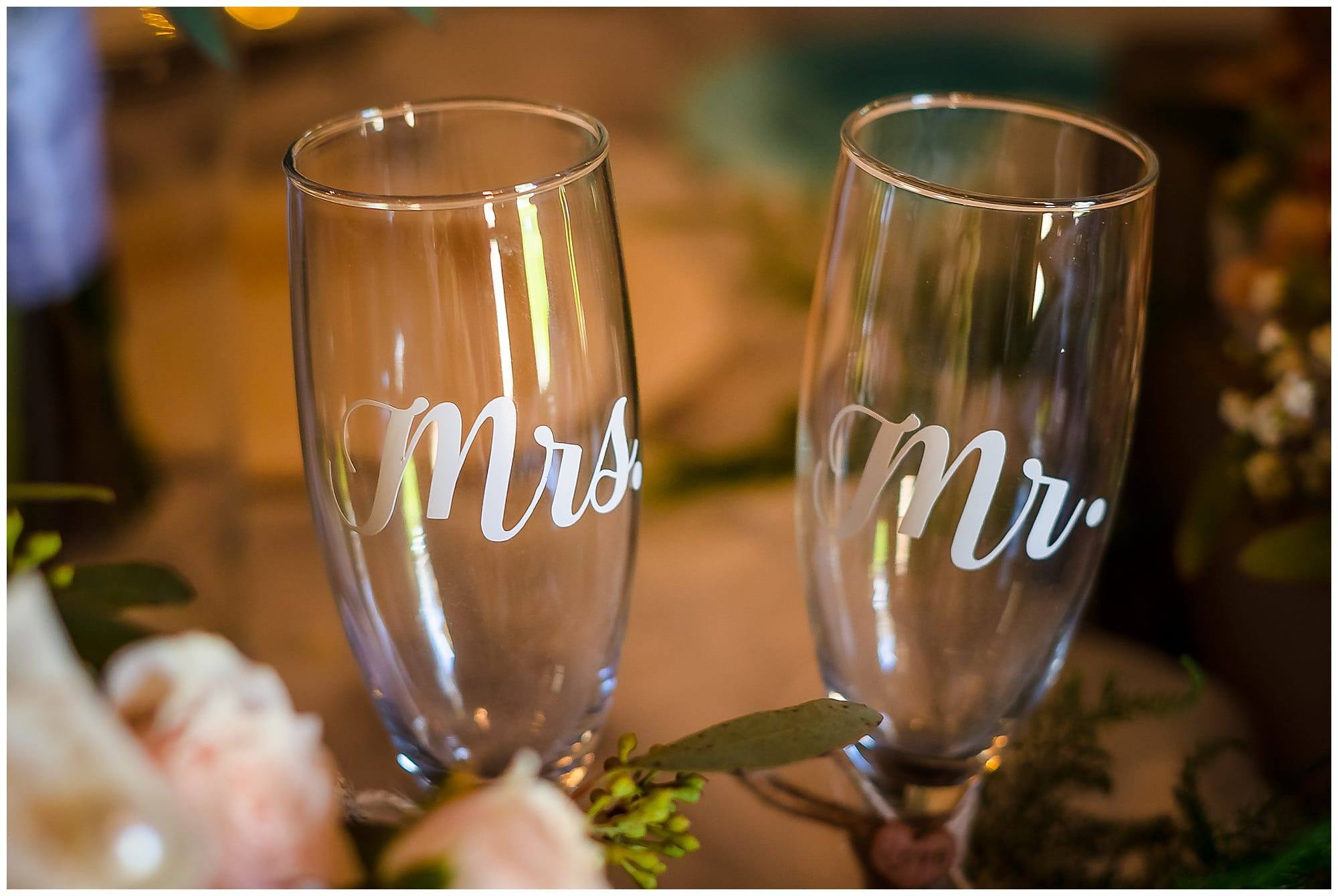 The Barn at TH Farm champagne glasses