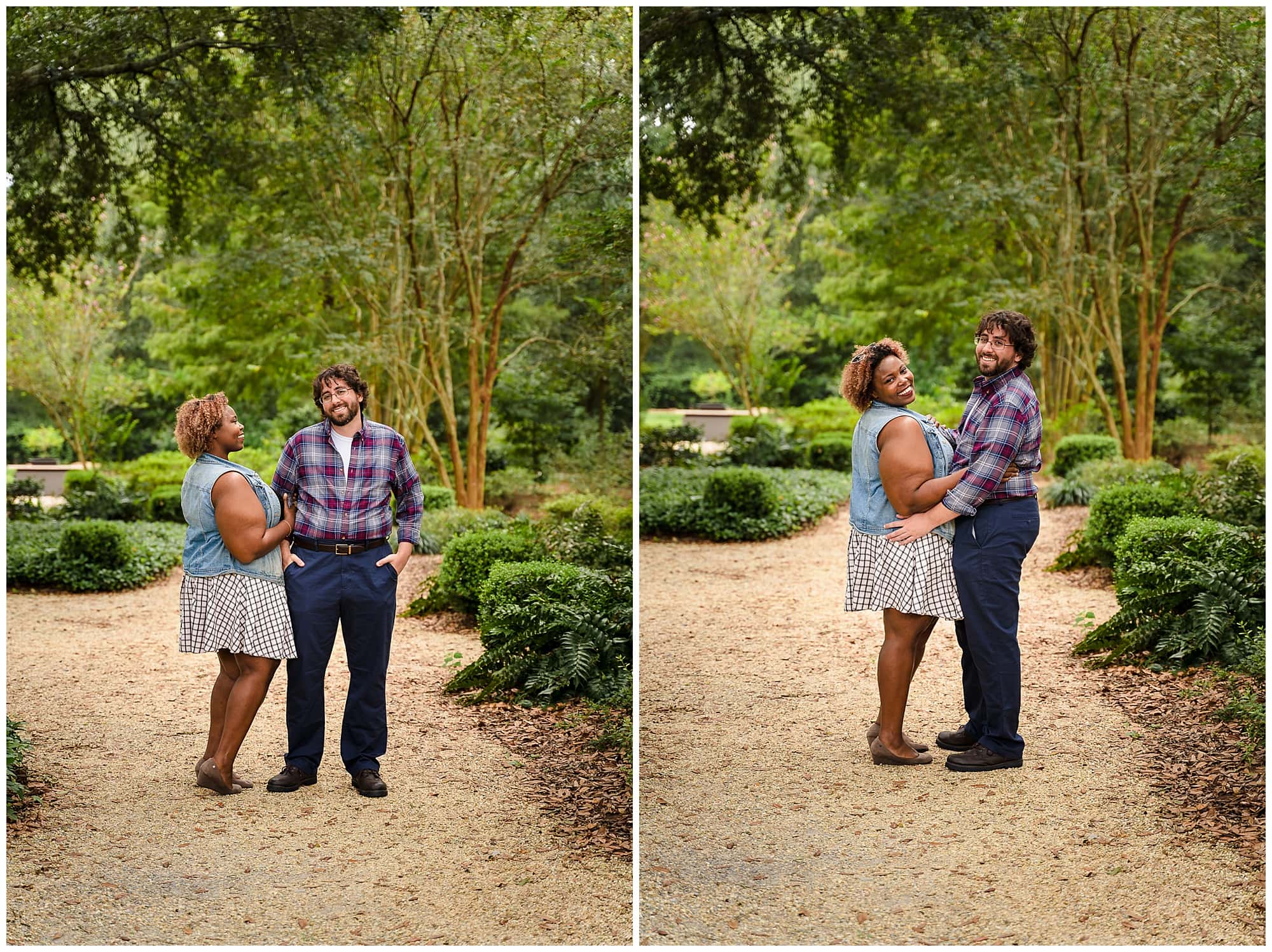 couple posing in Windrush Gardens Baton Rouge engagement session