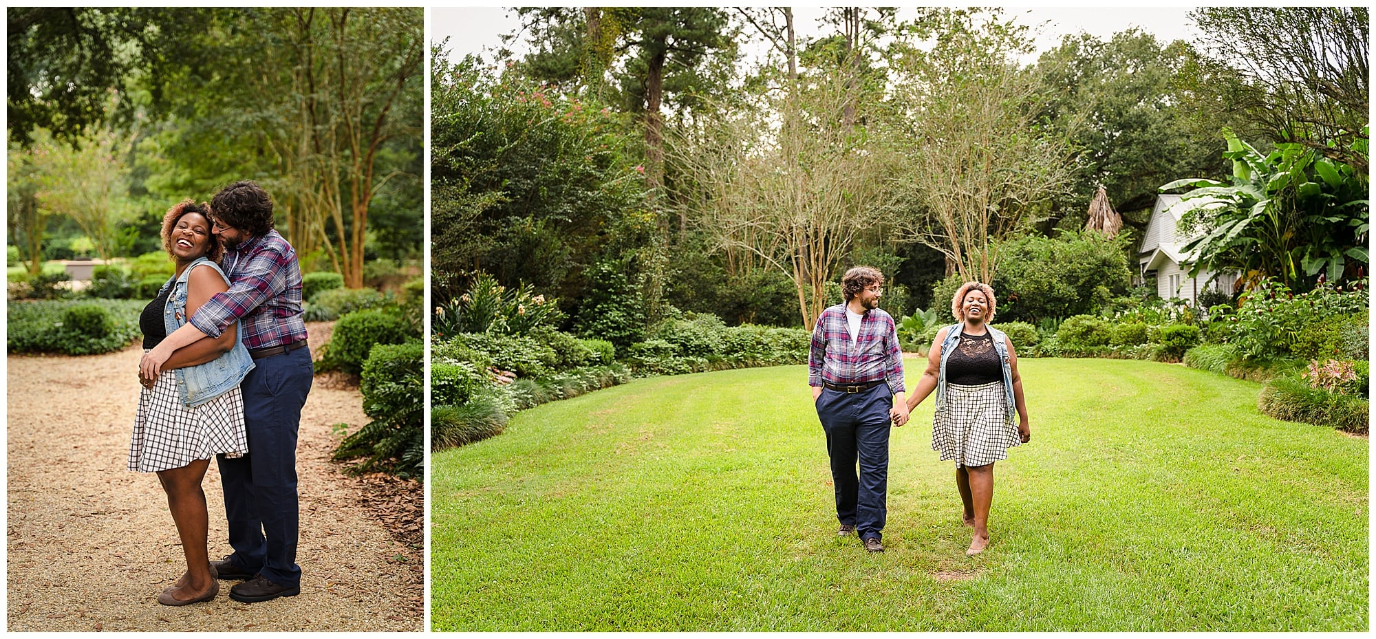 couple laughing and walking in in Windrush Gardens Baton Rouge engagement session