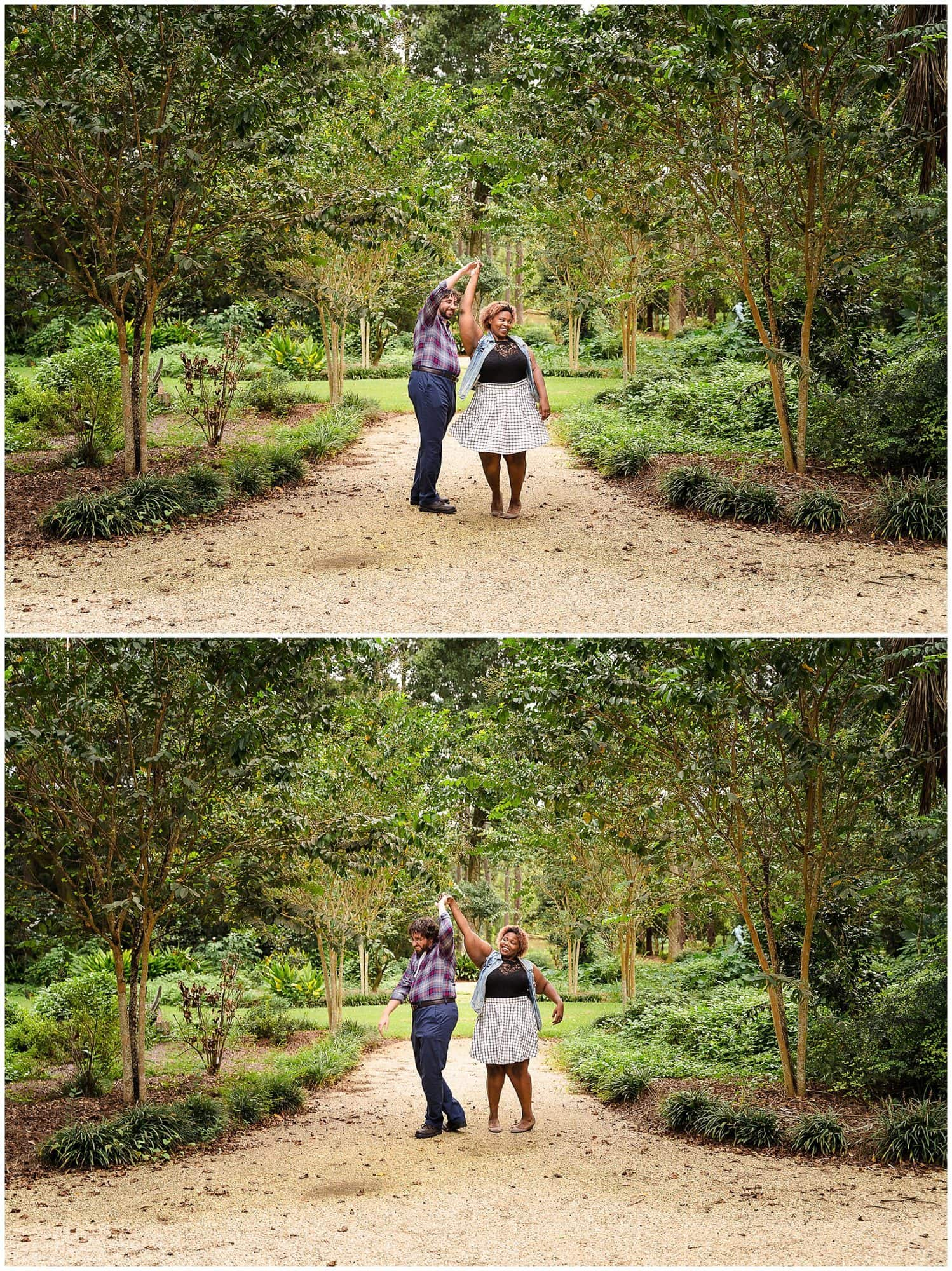 couple twirling in Windrush Gardens Baton Rouge engagement session