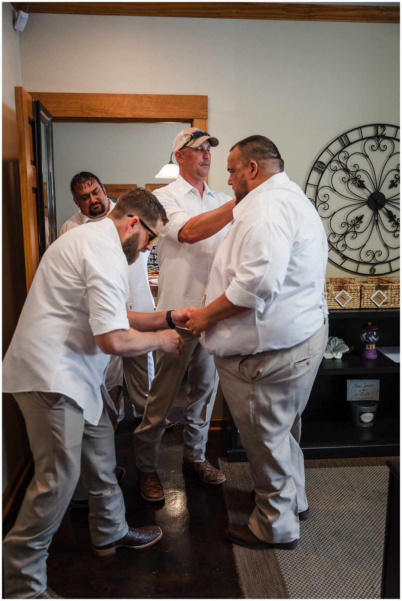 rustic Louisiana wedding groom getting ready