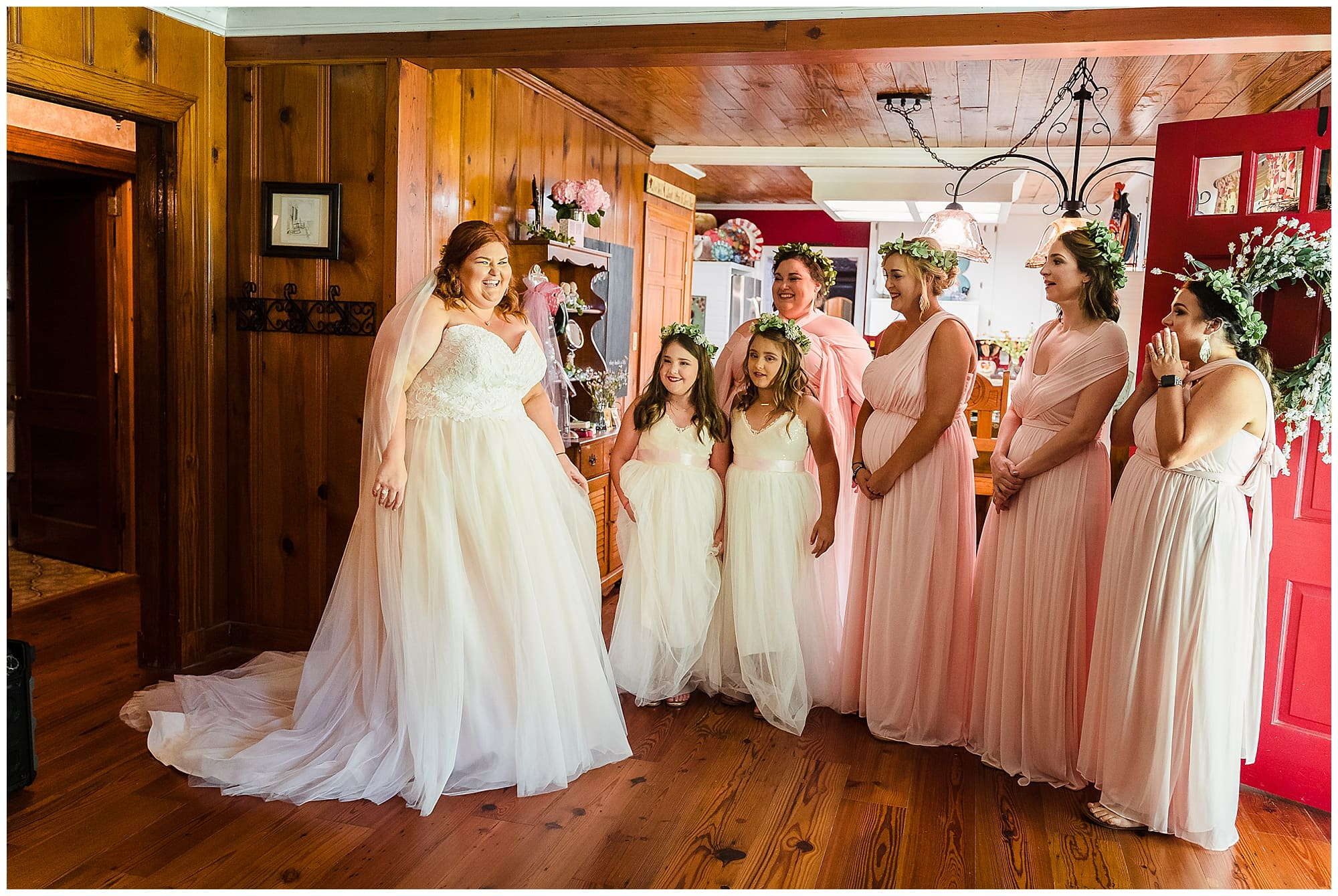 rustic Louisiana wedding bridesmaid first look