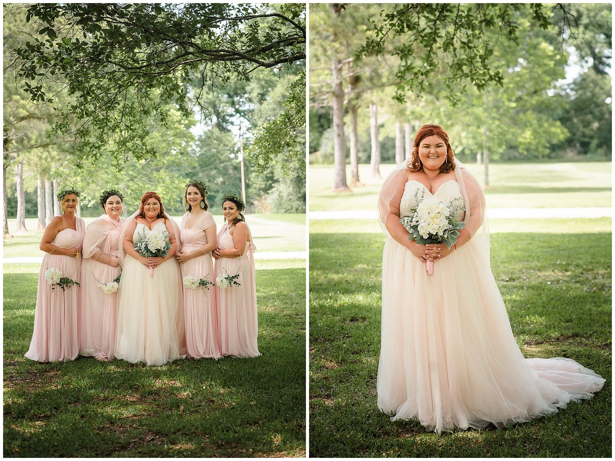 rustic Louisiana wedding bridal party and bridal portrait