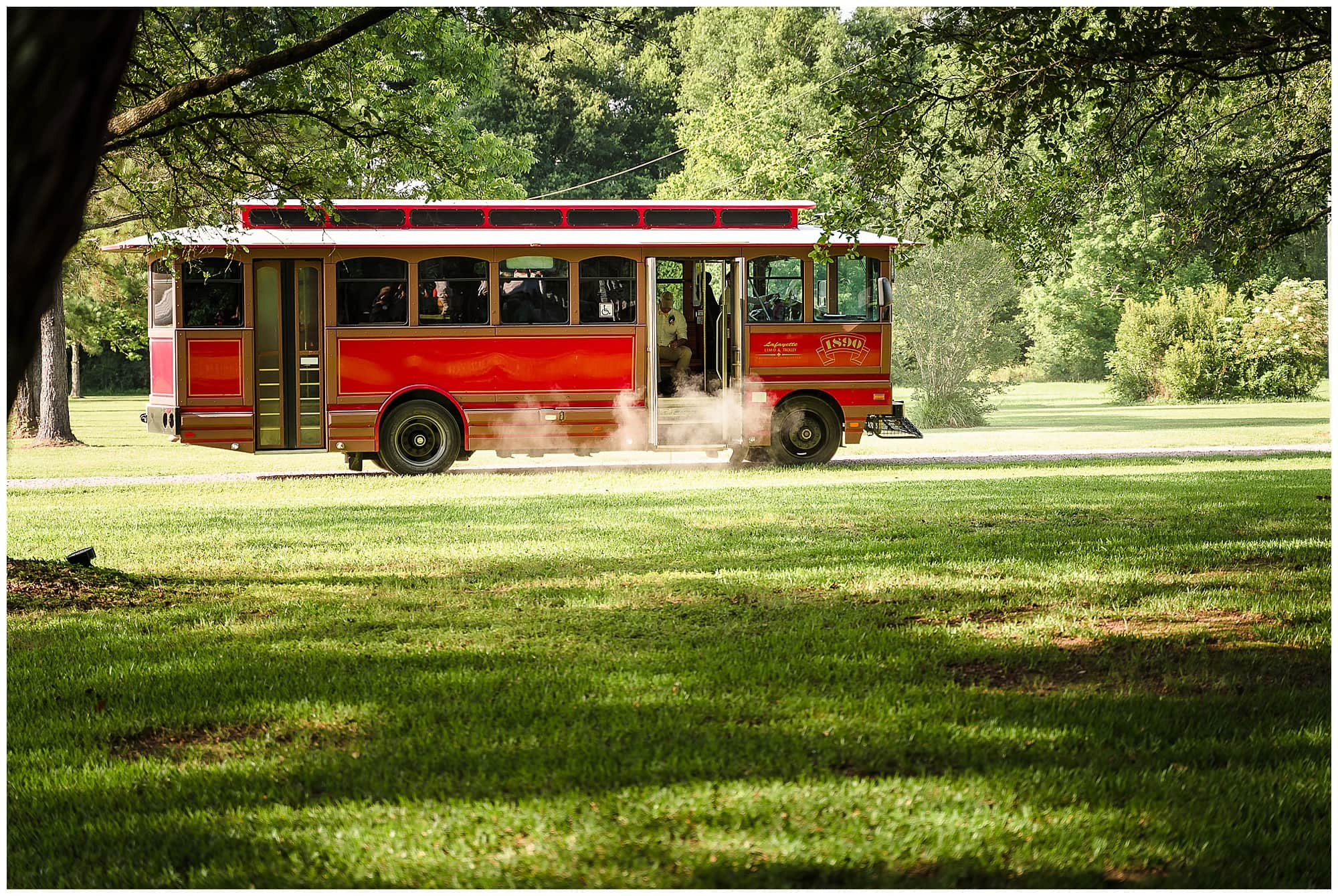 rustic Louisiana wedding trolly