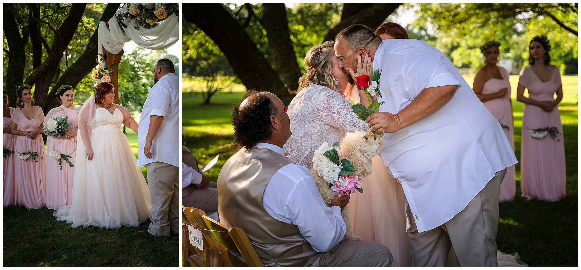 rustic Louisiana wedding groom gives mother rose
