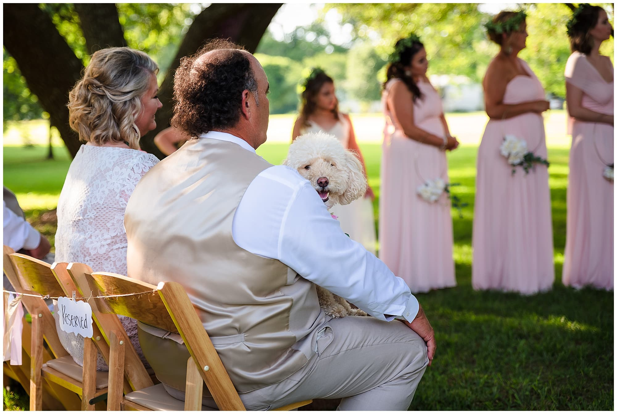 rustic Louisiana wedding dog sitting in father's lap