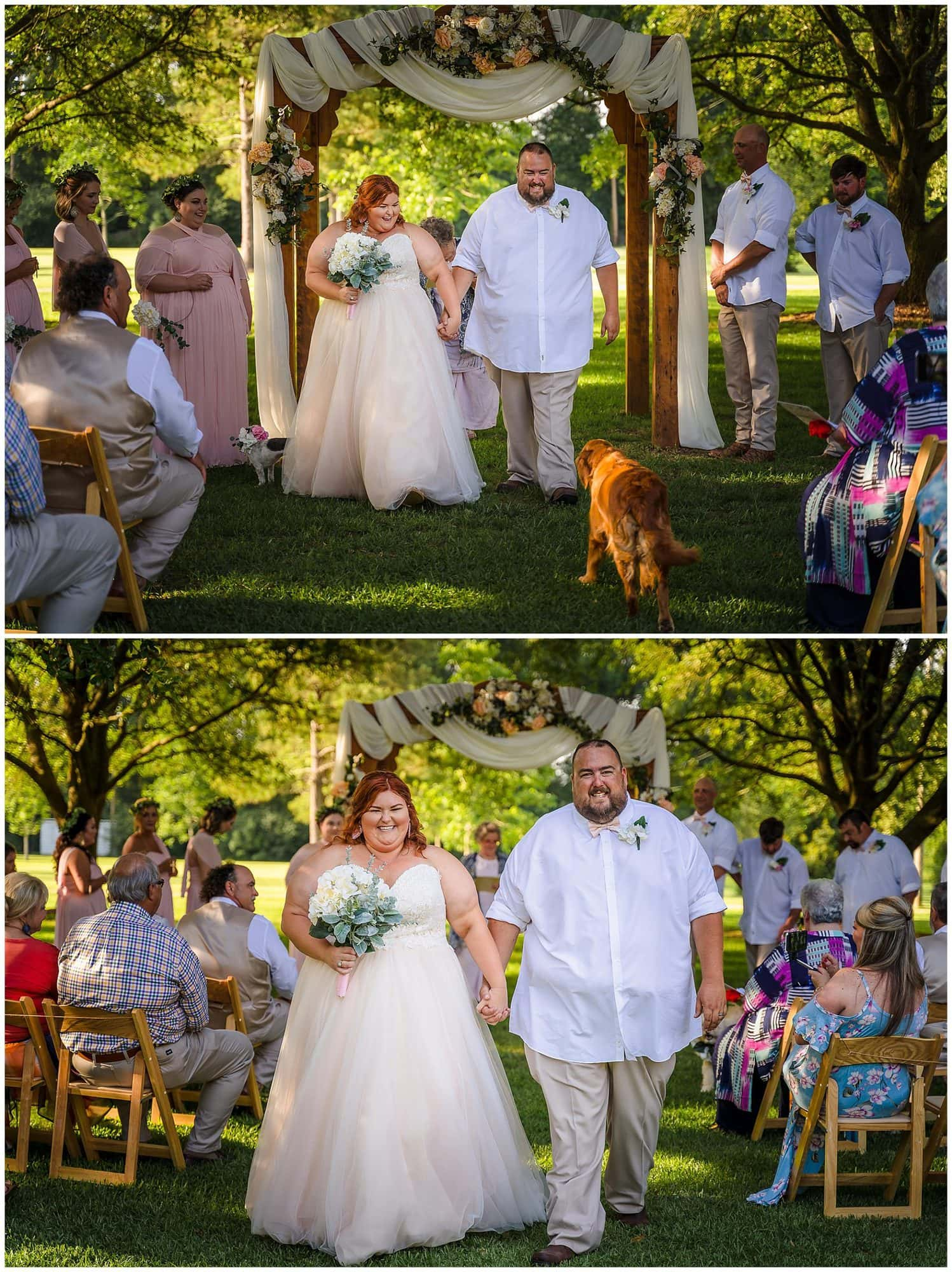 rustic Louisiana wedding couple walking up the aisle