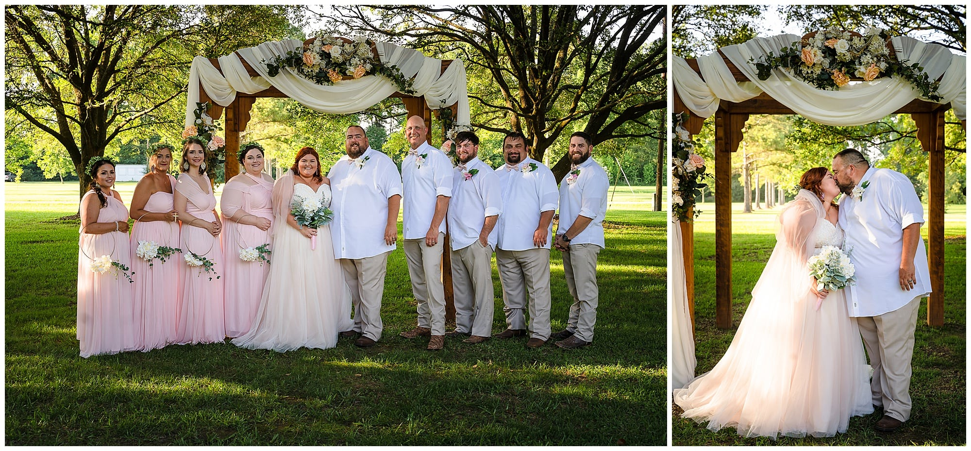 rustic Louisiana wedding formail bridal party and couple portrait