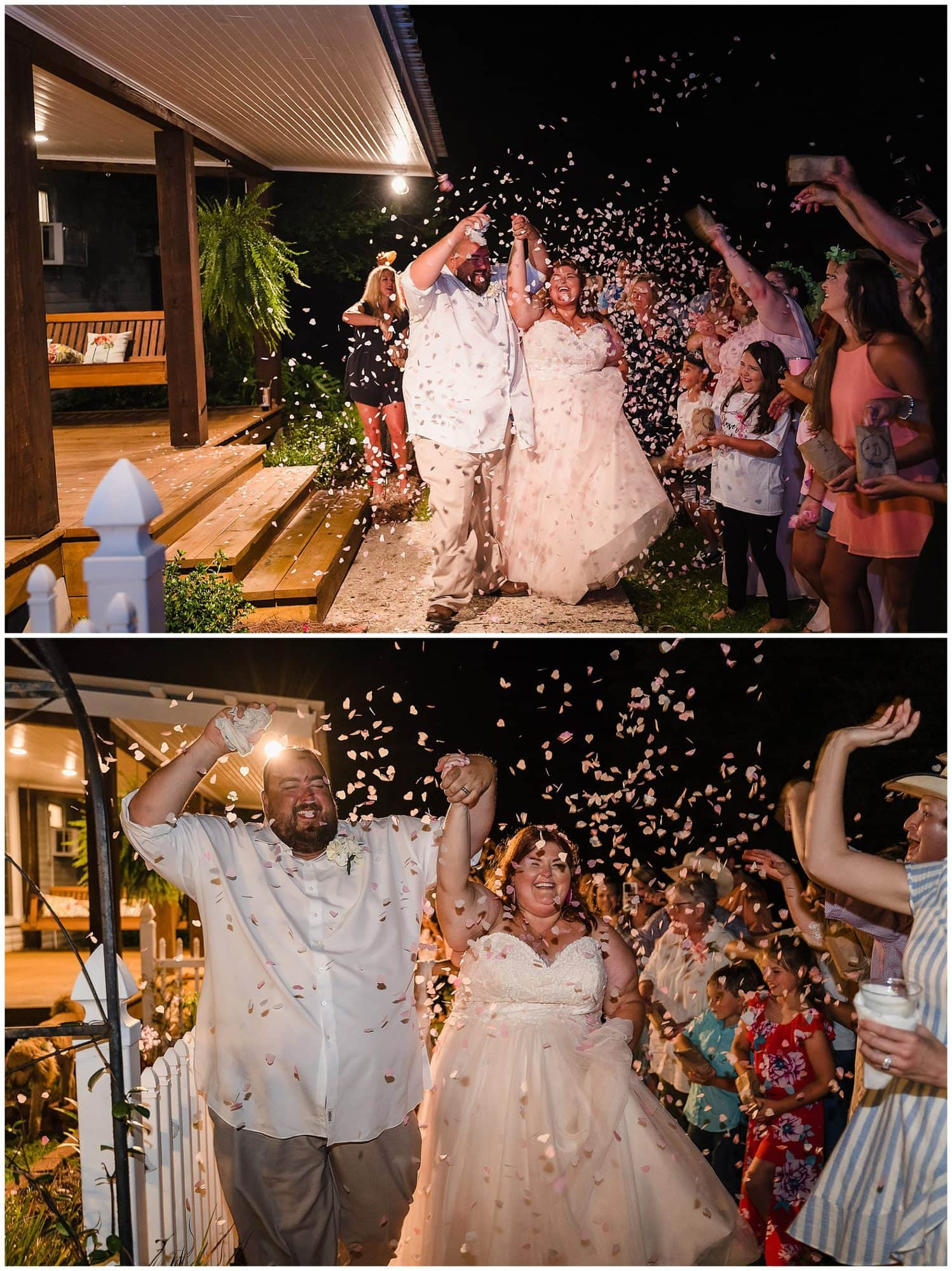 rustic Louisiana wedding confetti exit