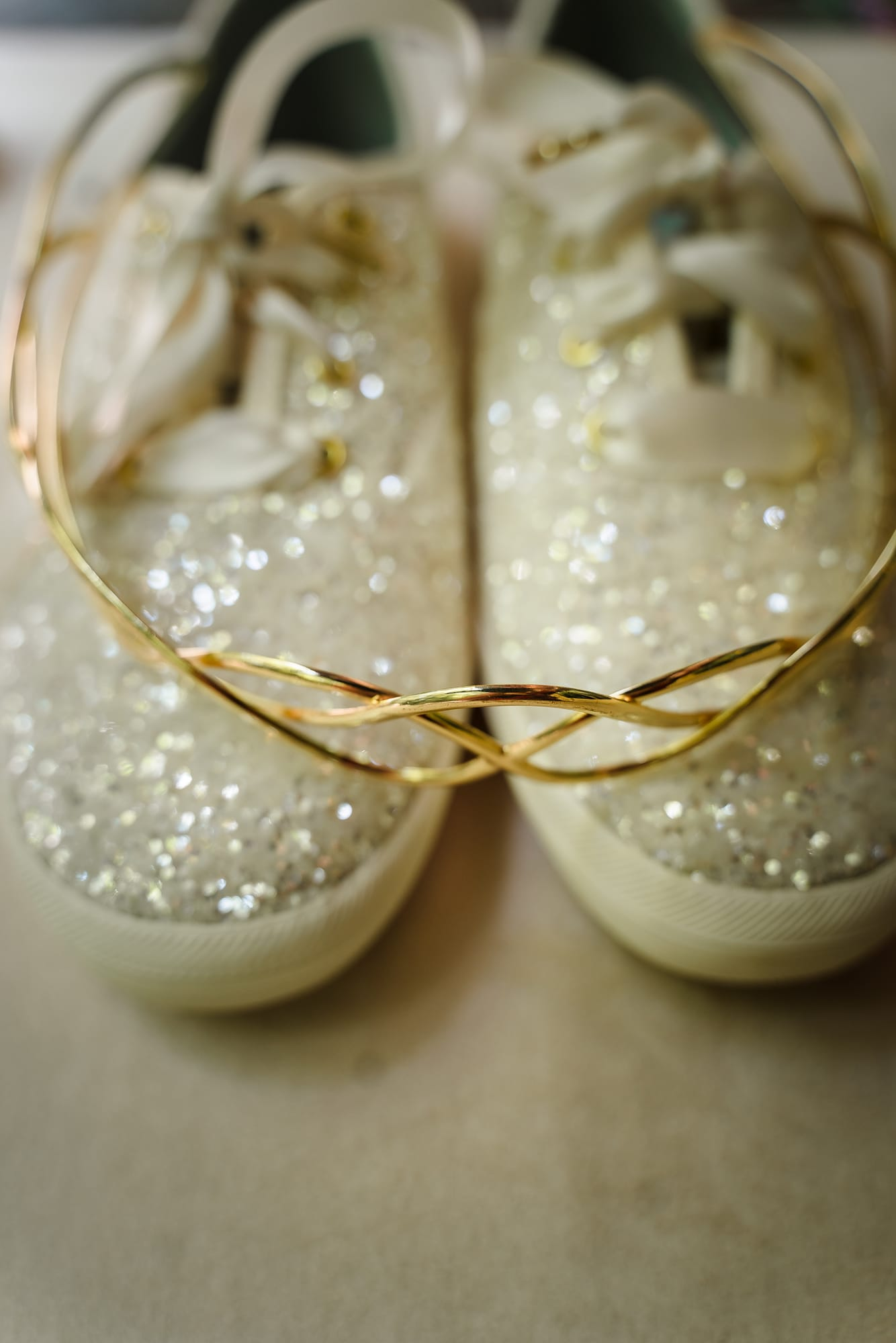 The Gatehouse Baton Rouge Wedding kate spade sparkly keds and tiara