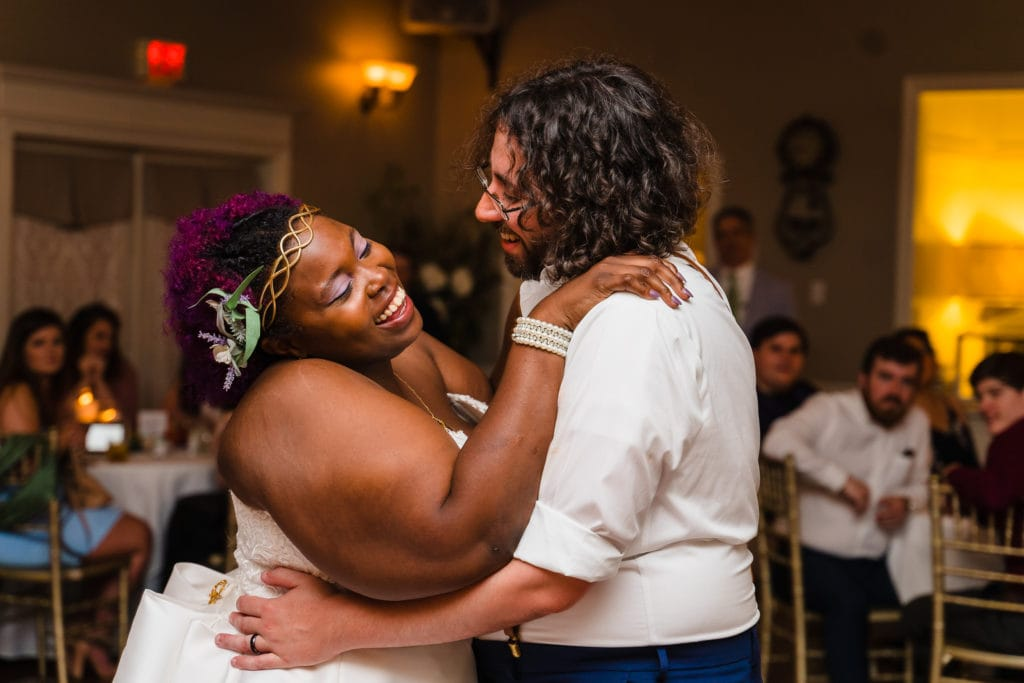 The Gatehouse Baton Rouge Wedding first dance laughing